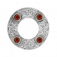 Celtic Knot Dancers Plaid Brooch with Red Stone