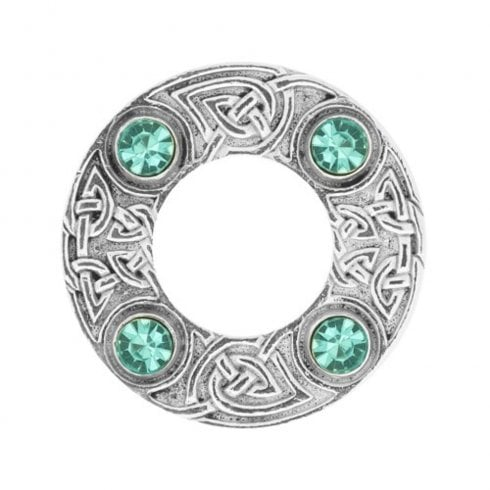 Art Pewter Celtic Knot Dancers Plaid Brooch with Turquoise Stone