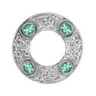 Celtic Knot Dancers Plaid Brooch with Turquoise Stone