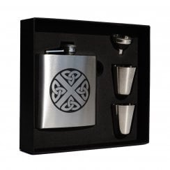 Celtic Saltire engraved 6oz Hip Flask Box Set (S)