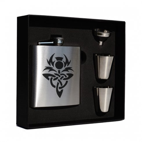 Art Pewter Celtic Thistle (knot) engraved 6oz Hip Flask Box Set (S)