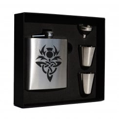 Celtic Thistle (knot) engraved 6oz Hip Flask Box Set (S)