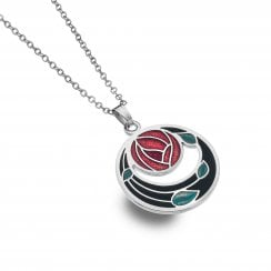 Charles Rennie Mackintosh Rose Coils Charm Necklace - Black Red 7260XR