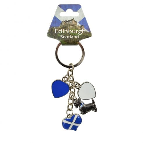 EastWest Charm Keyring with 3 Hearts and Scottie Dog