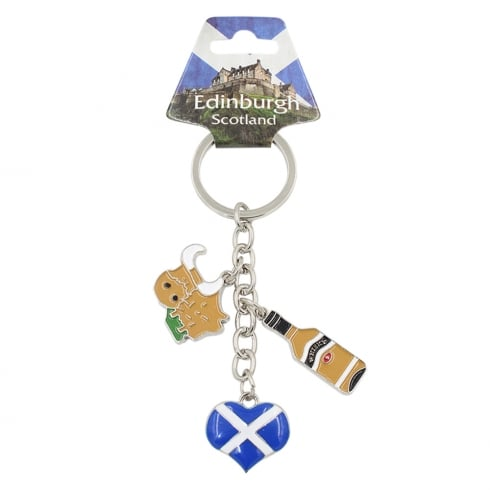 EastWest Charm Keyring With Scottish Flag Heart and Whisky Bottle