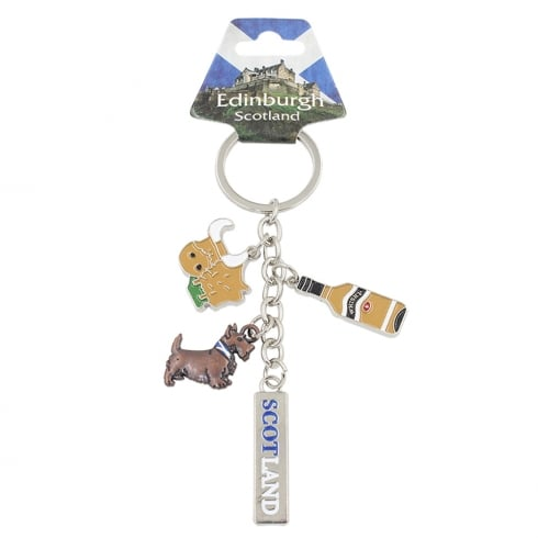 EastWest Charm Keyring With Scottish Whisky Bottle, Bobby and Cow