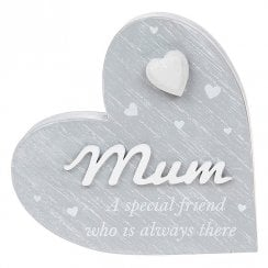 Cherished Hearts Cool Grey Mum Standing Plaque