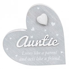 Cherished Hearts Cool Grey Standing Heart Ornament - Auntie