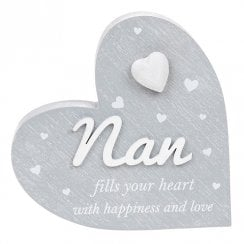 Cherished Hearts Cool Grey Standing Heart Ornament - Nan