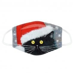 Christmas Black Cat Face Covering - Large