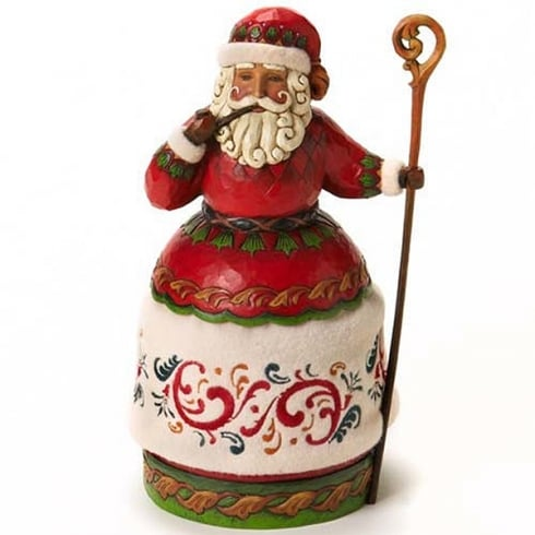 Jim Shore Heartwood Creek Christmas Cheer Santa With Pipe And Cane Figurine