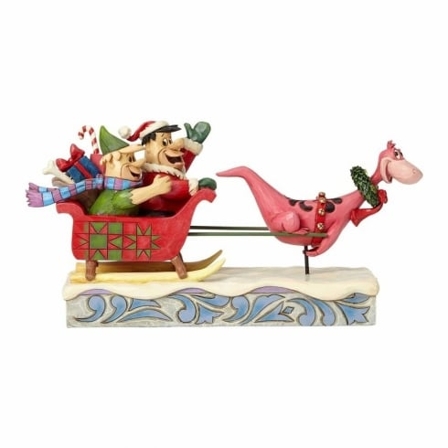 Jim Shore Flintstones Christmas In Bedrock Flintstones Sleigh Ride Figurine