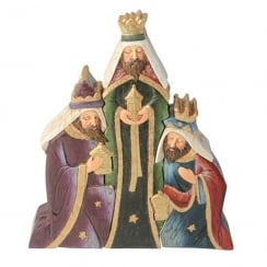 Christmas Nativity Three Wise Men Group Colour Figurine Large