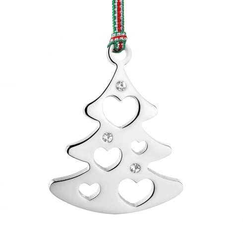 newbridge silverware christmas tree with clear stone hanging decoration