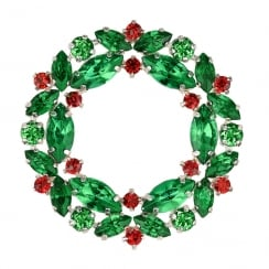Christmas Wreath With Coloured Stones Hanging Decoration