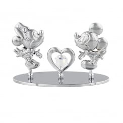 Chrome Plated Freestand Mickey & Minnie Heart