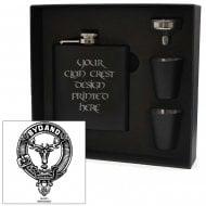 Clan Crest Black 6oz Hip Flask Box Set Gordon