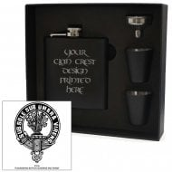 Clan Crest Black 6oz Hip Flask Box Set Irvine