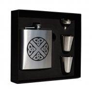 Clan Crest Stainless Steel 6oz Hip Flask Box Ireland (Irish Harp)