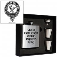 Clan Crest Stainless Steel 6oz Hip Flask Box MacLaine (of Lochbuie)