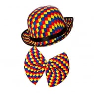 Clown Bowler Hat & Bow Tie