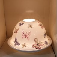 Coloured Butterflies Ceramic Candle Shade & Tray