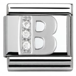 Composable Classic ALPHABET stainless steel Cub. zirc and 925 silver (02_B)