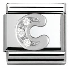 Composable Classic ALPHABET stainless steel Cub. zirc and 925 silver (03_C)