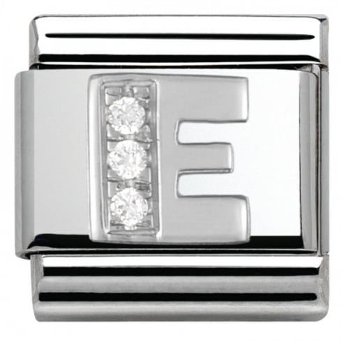 Nomination Composable Classic ALPHABET stainless steel Cub. zirc and 925 silver (05_E)