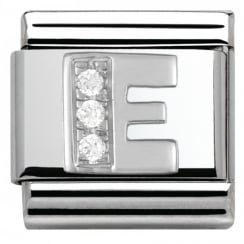 Composable Classic ALPHABET stainless steel Cub. zirc and 925 silver (05_E)