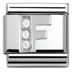 Composable Classic ALPHABET stainless steel Cub. zirc and 925 silver (06_F)