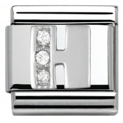 Composable Classic ALPHABET stainless steel Cub. zirc and 925 silver (08_H)