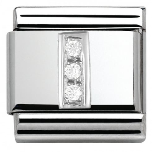 Nomination Composable Classic ALPHABET stainless steel Cub. zirc and 925 silver (09_I)