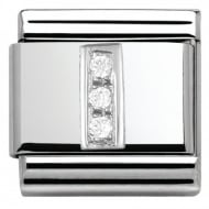 Composable Classic ALPHABET stainless steel Cub. zirc and 925 silver (09_I)