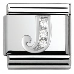 Composable Classic ALPHABET stainless steel Cub. zirc and 925 silver (10_J)