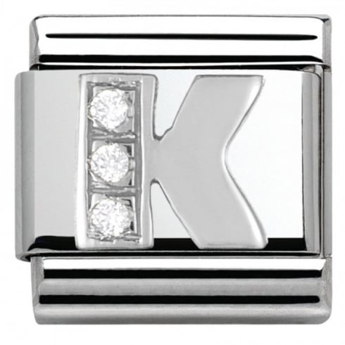 Nomination Composable Classic ALPHABET stainless steel Cub. zirc and 925 silver (11_K)