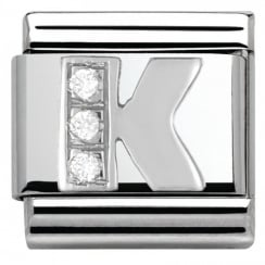 Composable Classic ALPHABET stainless steel Cub. zirc and 925 silver (11_K)