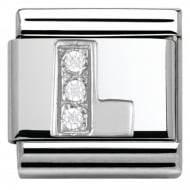 Composable Classic ALPHABET stainless steel Cub. zirc and 925 silver (12_L)