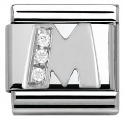 Composable Classic ALPHABET stainless steel Cub. zirc and 925 silver (13_M)
