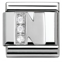 Composable Classic ALPHABET stainless steel Cub. zirc and 925 silver (14_N)