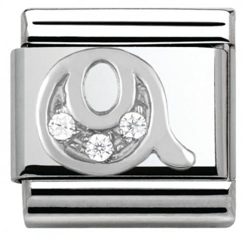 Nomination Composable Classic ALPHABET stainless steel Cub. zirc and 925 silver (17_Q)