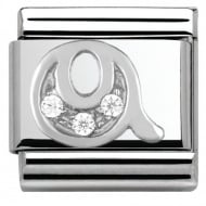 Composable Classic ALPHABET stainless steel Cub. zirc and 925 silver (17_Q)