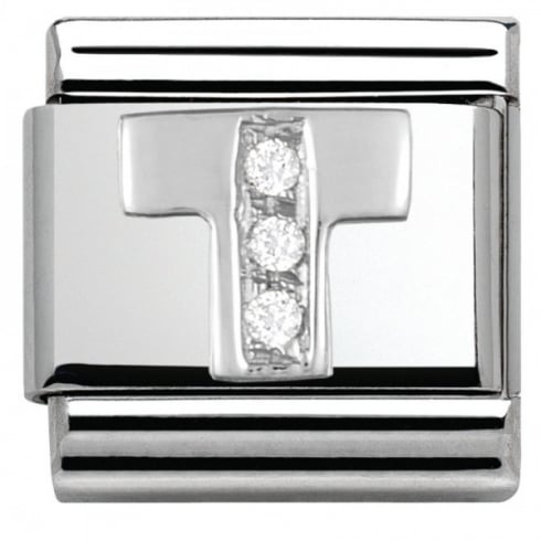 Nomination Composable Classic ALPHABET stainless steel Cub. zirc and 925 silver (20_T)