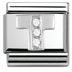 Composable Classic ALPHABET stainless steel Cub. zirc and 925 silver (20_T)
