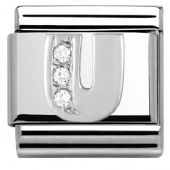 Composable Classic ALPHABET stainless steel Cub. zirc and 925 silver (21_U)