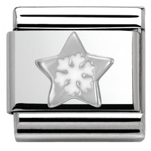 Nomination Composable Classic CHRISTMAS in stainless steel enamel and arg. 925 (01_Star with Snowflake)