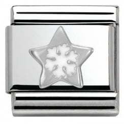 Composable Classic CHRISTMAS in stainless steel enamel and arg. 925 (01_Star with Snowflake)