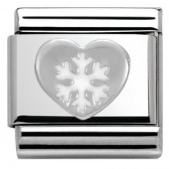 Composable Classic CHRISTMAS in stainless steel enamel and arg. 925 (02_Heart with Snowflake)