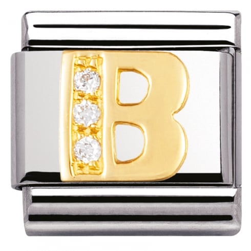 Nomination COMPOSABLE Classic LETTERS in stainless steel with 18k gold and Cubic Zirconia (02_B)