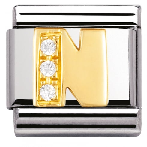 Nomination COMPOSABLE Classic LETTERS in stainless steel with 18k gold and Cubic Zirconia (14_N)